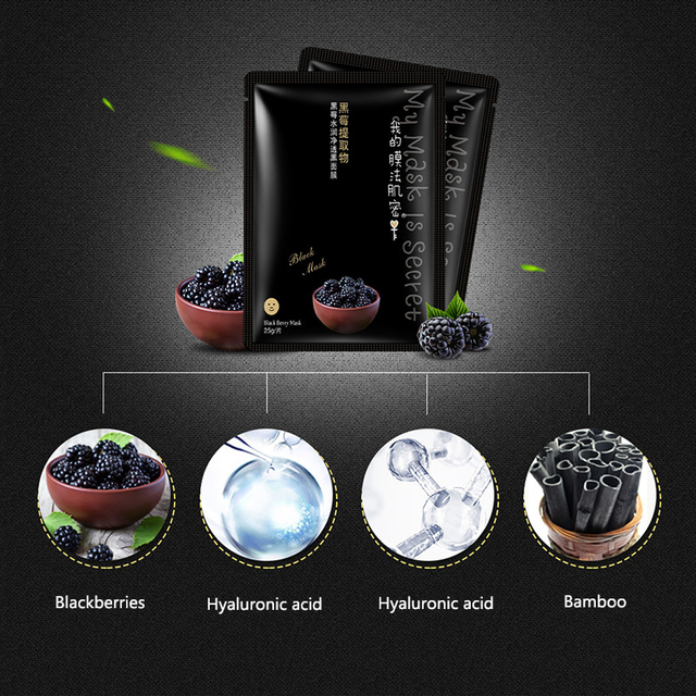 Moisturizing Whitening Pearl/Blackberry/Black Stork Black Face Mask Sheet