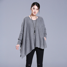 Women's cashmere cloak sweater O neck batwing sleeves solid color fashion thick cloak sweaters