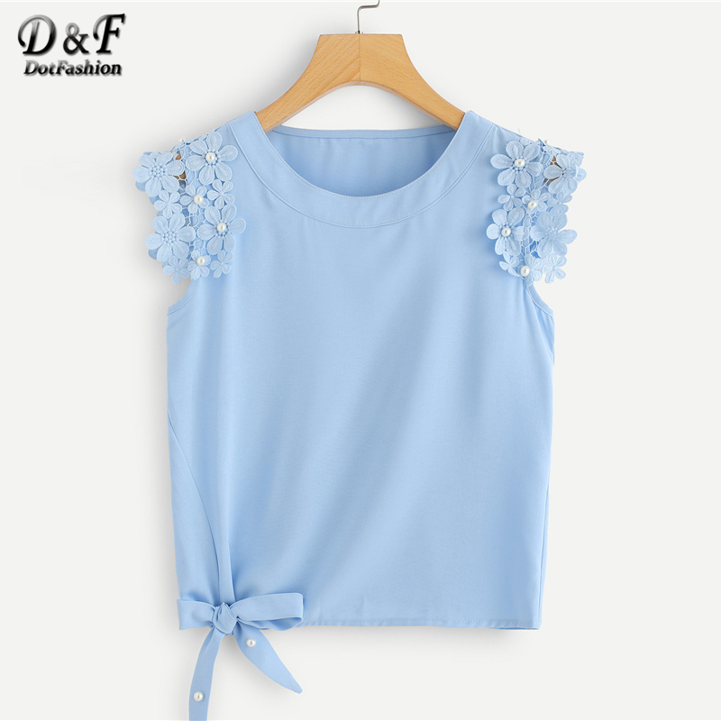 Dotfashion Blue Knot Side Pearl Beaded Detail Top 2018 Summer Ladies Round Neck Plain Vest Women Weekend Casual Regular Fit Tank