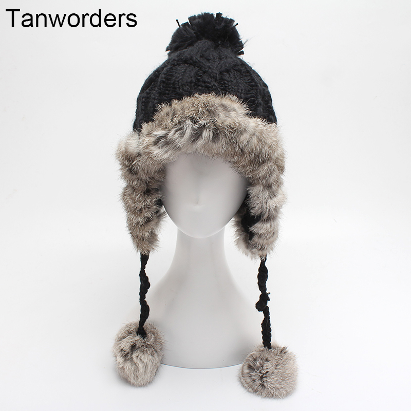 Women Thick Warm Winter Hats Real Rabbit Fur Patchwork Ear Protect Knitted Beanies Hat With Pom Poms Female Bonnets приспособа для сжатия пружин вектра б купить