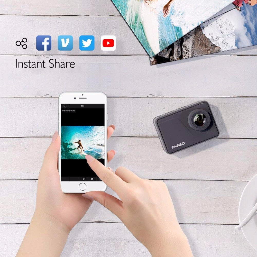 AKASO V50 Pro Native 4 K/30fps 20MP WiFi Action Kamera mit EIS Touchscreen 30M wasserdichte Sport gehen Helm pro sport cam