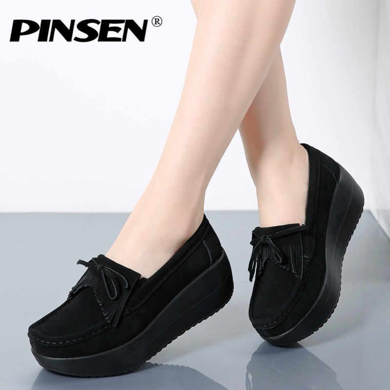 Compre 2019 PINSEN 2018 Verano Zapatos Casuales Mujer Plataforma Sin Cordones Pisos Mujer Transpirable Zapatillas Slipony Zapatos De Mujer Zapatillas