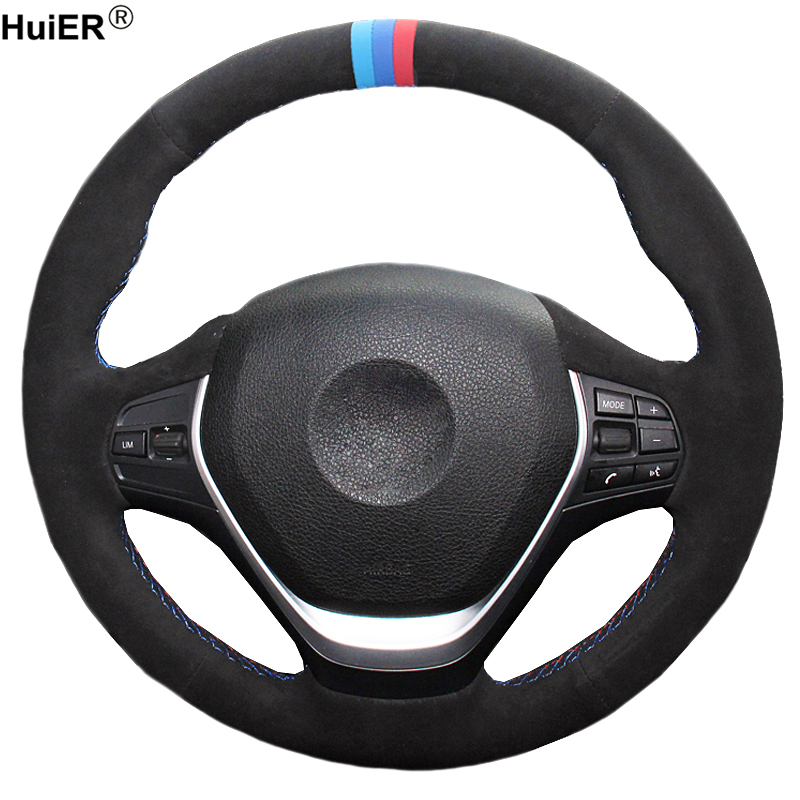 Hand Sewing DIY Car Steering Wheel Cover Suede Cow Leather For BMW F20 2012-2018 F45 2014-2018 F30 F31 F34 2013-2017 F32 F33 F36