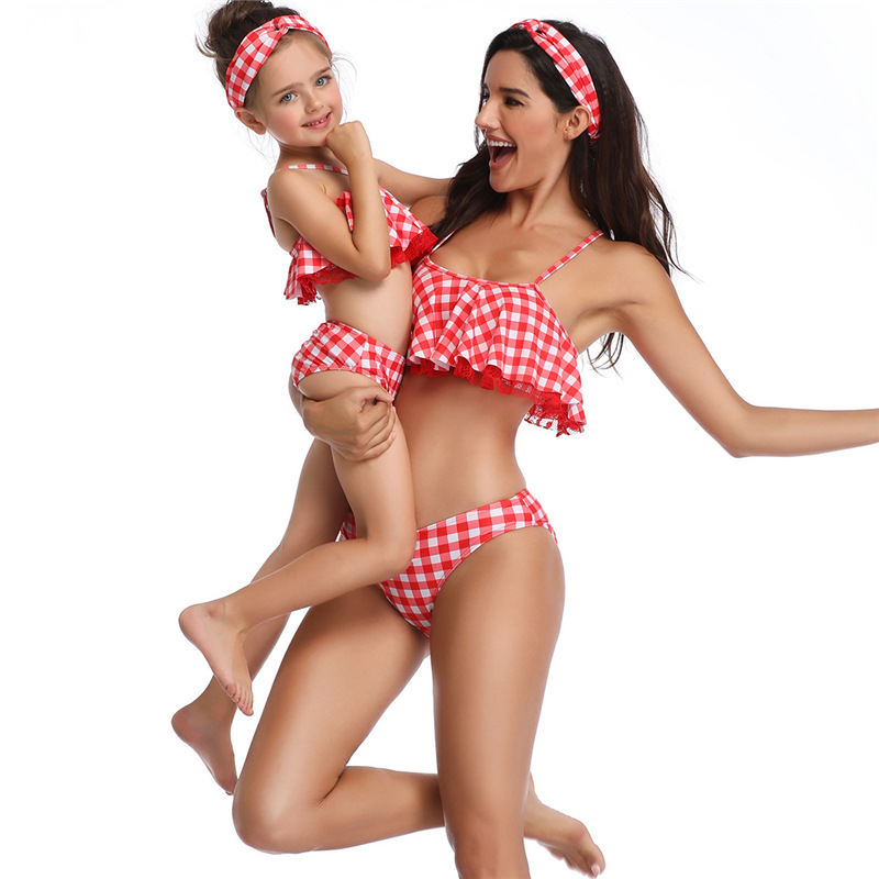 Summer Family Matching Swimwear Mother Daughter Plaid Bikini Bathing Suit Swimwear Family Matching Outfits Kids Mom Swimsuit (6)