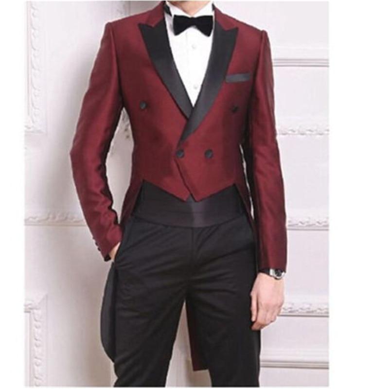 Picture À Double Veste Pantalon De Groomsman Costume As Boutonnage Same Costumes Et Hommes D'affaires Vin Marié Rouge Smoking Personnalisé qpF0UF