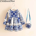 Girl Dresses 2017 Autumn Princess Dress with Bag Robe Fille Enfant Print Pattern Kids Clothes Girl Dress Long Sleeve