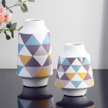 1pc Modern Geometric Ceramic Flower Vase Creative Colorful Floral Vases Table Top Centerpiece for Home Decoration