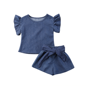 Toddler Kids Girl Solid Ruffle Tops Shirt Shorts Outfits Clothes