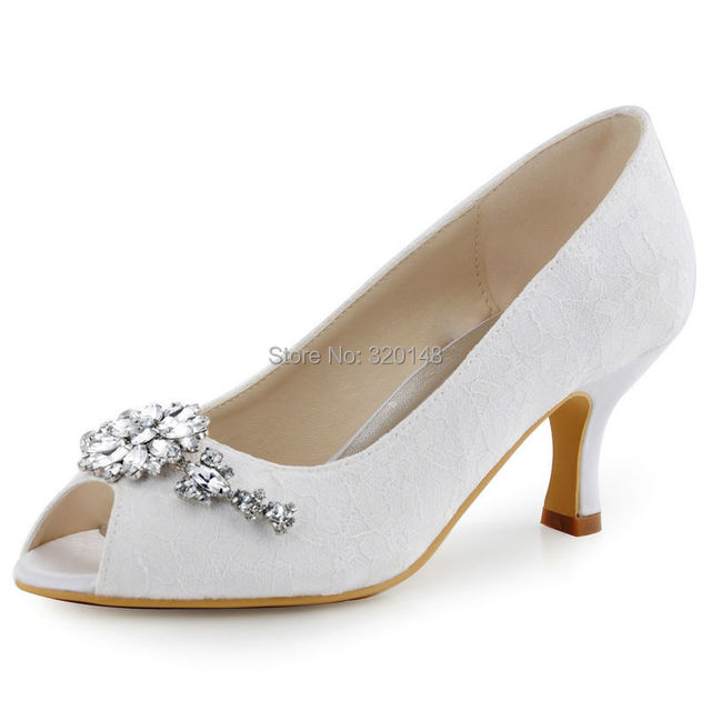 Woman Shoes Ivory Peep Toe Mid Heel Rhinestones Lady Pumps Lace Bride Bridesmaids Prom Evening Wedding Bridal Shoes HP1539