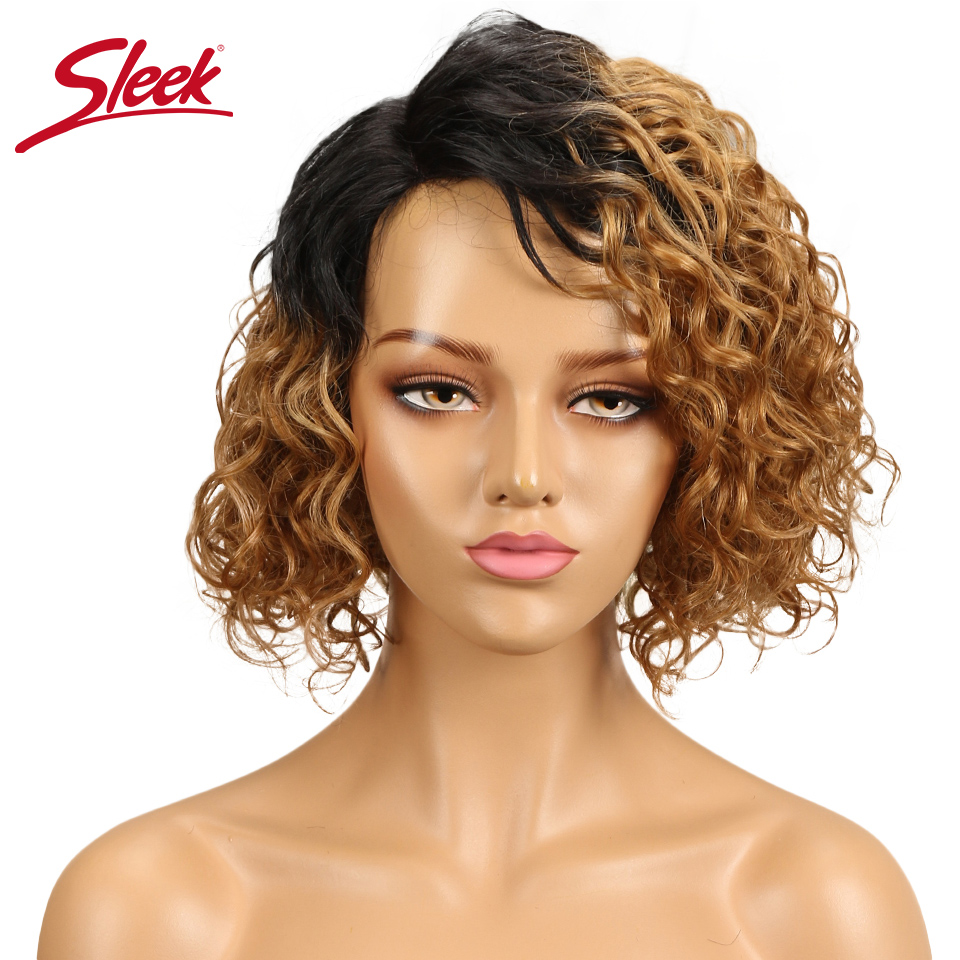 Sleek Brazlilian Curly Human Hair Wigs For Black Women Fashion Part Lace Wig Color T1b/27 T1b/Red Perruque Cheveux Humain Wig