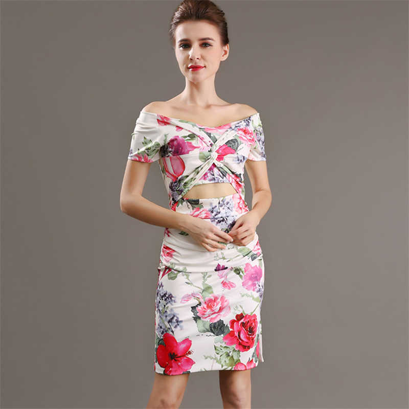 H Han queen Новое модное летнее платье женские с открытыми плечами Slash шеи выдалбливают сексуальный с принтом с цветами Повседневные платья в обтяжку