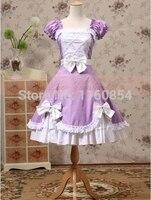 Фиолетовый и Белый Короткие Рукава Лук Сладкая Лолита Платье