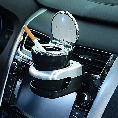 TPFOCUS Auto Car Ashtray With Lid Chic Smokeless Self Extinguishing Cigarette Ash Holder With Blue LED Light