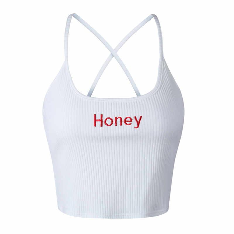 Áo Crop Top Nữ Mật Ong Thư Dây Đeo Xe Tăng Cao Cấp Nữ Trơn Trượt Dạo Phố Gợi Cảm Camis Câu Lạc Bộ Camisoles Trắng Đỏ Nữ Ngắn Chặt áo Sơ Mi