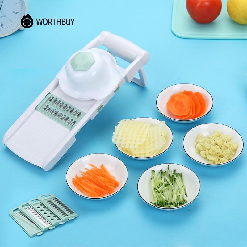 WORTHBUY Mandoline cortador de verduras con 5 HOJA DE ACERO INOXIDABLE de cortadora de verduras de rallador zanahoria accesorios de cocina