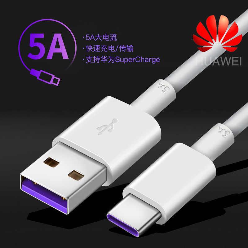 كابل Huawei USB 5A Type C P20 Pro lite Mate 9 10 Pro P10 Plus lite V10 USB 3.1 Type-C كابل شاحن فائق الشحن