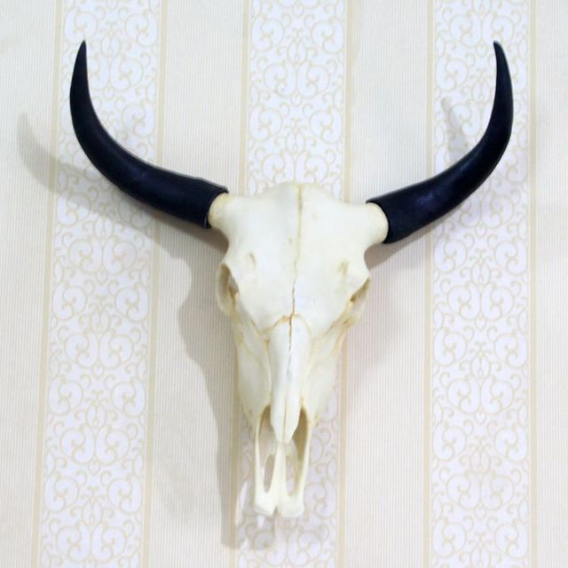 1f950ec0d65 wall mounted Resin yak skull art plaque hunt sculpture faux Animal  taxidermy hanging home decor