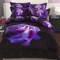 Elegant Purple Rose 3D Bedding Sets Queen Size 100% Cotton Floral Print Bed Sheet Quilt Cover Pillowcase Bed in a bag