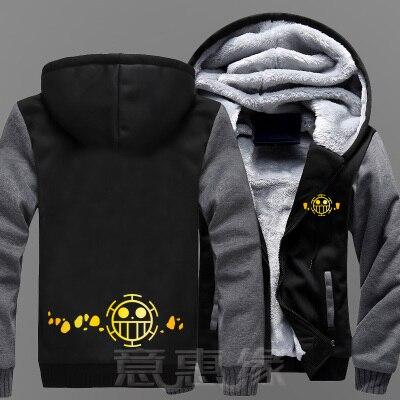 Nouveau hiver vestes et manteaux une pièce à capuche Anime Trafalgar D eau droit à capuche épais Zipper hommes Sweatshirts-in Sweats à capuche et sweat-shirts from Vêtements homme    1