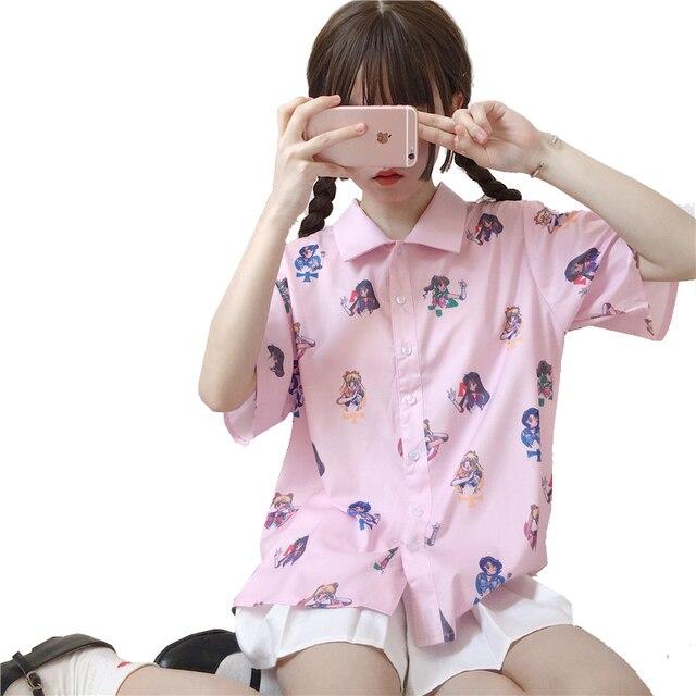 Harajuku Women Blouse Short Sleeve Sailor Moon Print Shirt Lolita Girls Loose Blouses Pink Tops Anime Summer Tee Wholesale Lot 1