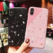 Pink Black Splicing Marble phone cover fundas For Apple iPhone XR X 8 7 plus 6 6s Xs max cases