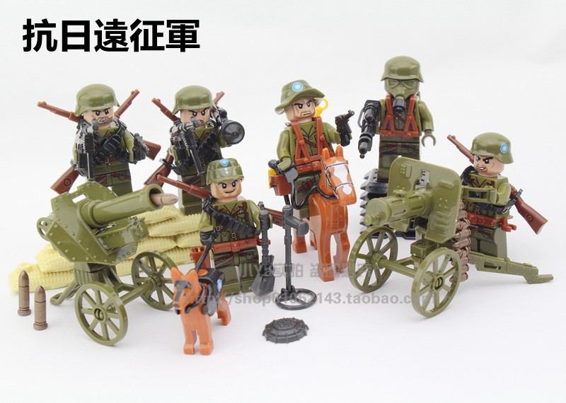 Doll 71001 6pcs World War 2 Anti-Japanese The Long March Military Building Blocks Army Toys For Children Compatible With Legoe for the duration the war years