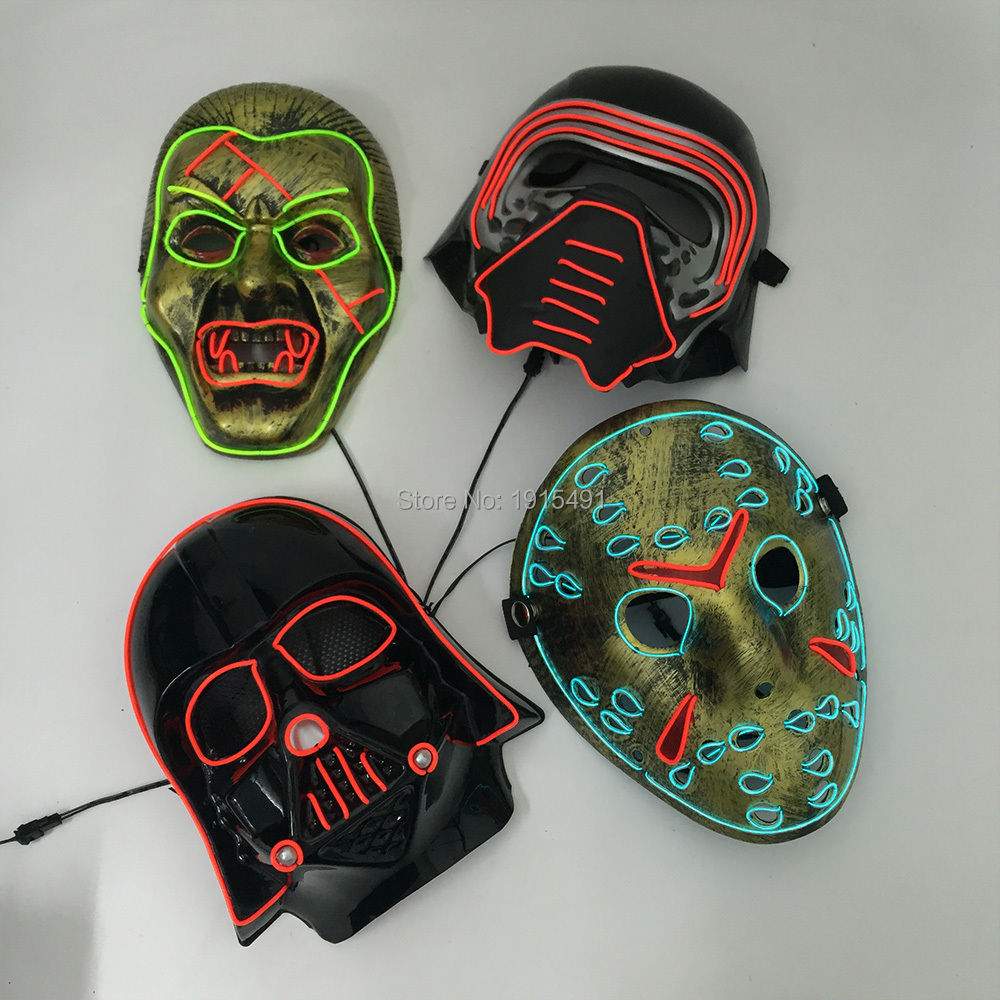 Led Glowing Mask Energy Saving Concert Scary Series Party Lighting Bleach Cosplay EL Mask Making Fashion Accessory Night Show julián arango antonio sanint ríase el show barranquilla