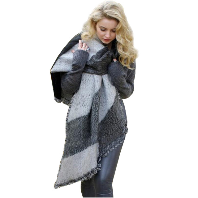 Fashion Women Hollywood Winter Top Pashmina Blanket Scarf Wool Shawl Female Cashmere Tassels Warm Scarves Hot Plaid Cape J036