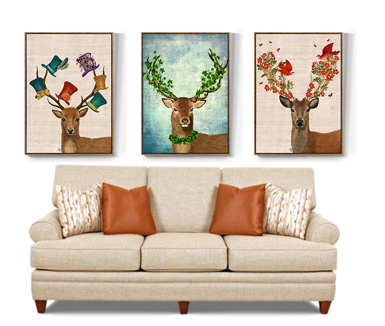 Vintage Elk Canvas Poster Decor Picture Colorful Horns Luck Deer Painting On Canvas For Living