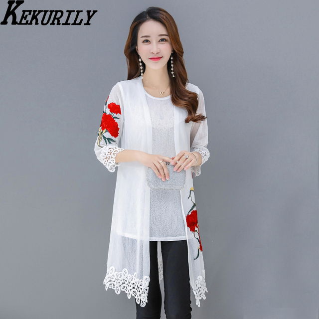 KEKURILY women summer beach blouse kimono cardigan see through ...