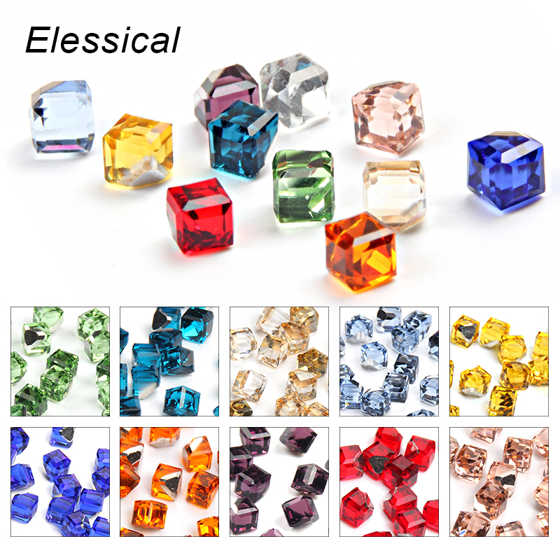 ELESSICAL 20pcs Cube Square Design Glass Beads Nail Rhinestones 4mm Gems Crystal Charms 3D Nail Art Decorations Manicure Jewelry wakefulness ab color glass rhinestones crystal mix caviar nail art mini beads sharp bottom gemstones charms 3d nail decorations
