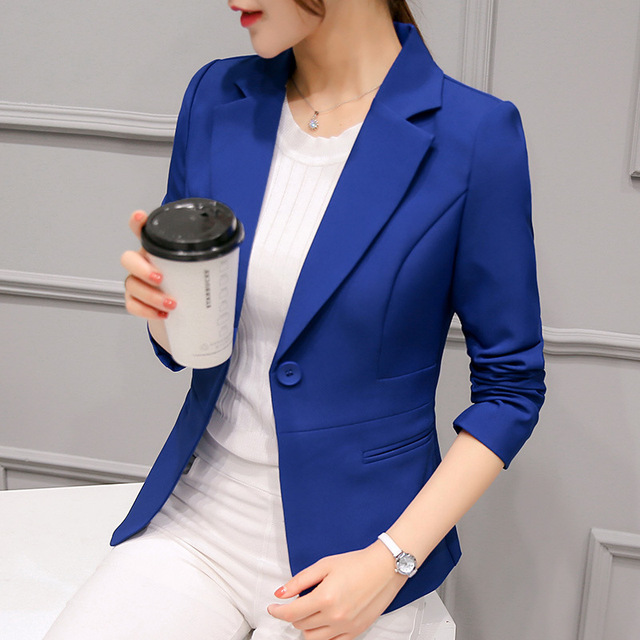 2018 Women's Blazer Pink Long Sleeve Blazers Solid One Button Coat Slim Office Lady Jacket Female Tops Suit Blazer Femme Jackets 1
