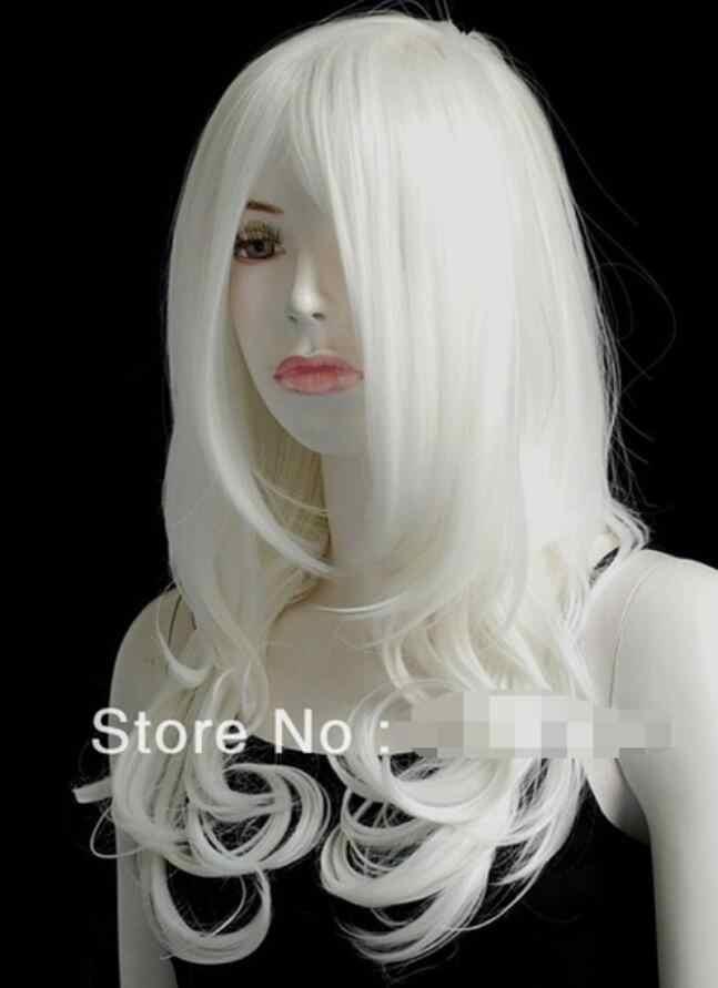 Peruk Patlama Isı Güvenli Dalgalı Gümüş Beyaz Orta Cosplay peruk Lady Gaga Ücretsiz Kargo