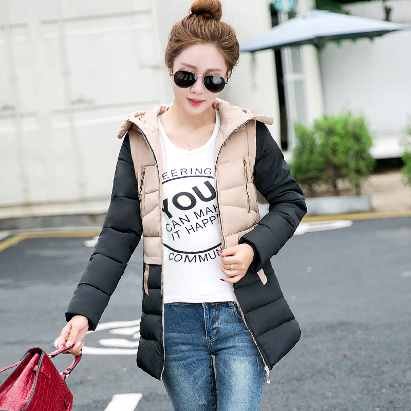 2017 New Hot selling autumn winter down cotton-padded jacket women's fashion patchwork plus size medium-long slim wadded Coat