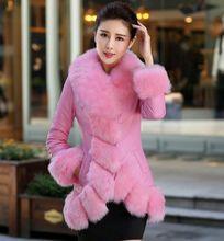 2016 Winter Latest Women High Quality Down Jacket Imitation Fox Furry Collars High-grade PU Leather  Jacket Slim Big Yards M014