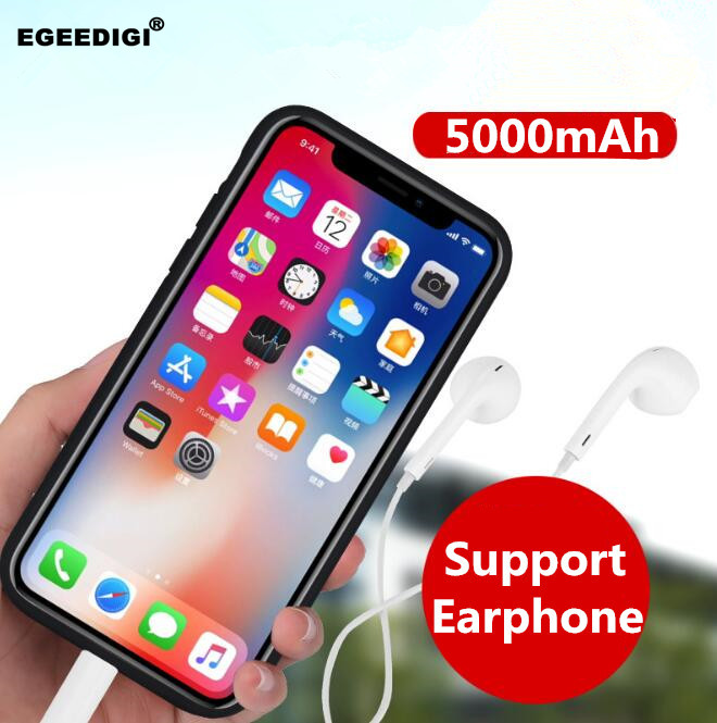 Egeedigi Silicon Shockproof Battery Charger Cases for iPhone X XS 5000mAh Power Bank Case Slim External Pack Backup charger caseEgeedigi Silicon Shockproof Battery Charger Cases for iPhone X XS 5000mAh Power Bank Case Slim External Pack Backup charger case