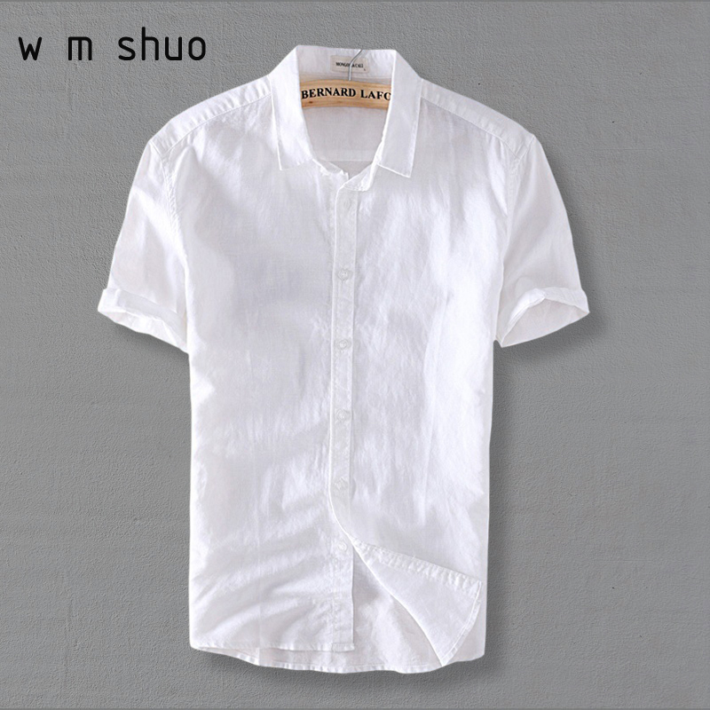 WMSHUO 2017 Summer Men 4XL Casual Shirts Solid White Short Sleeve Cotton Linen Dress Shirts Camisa Masculina Y006