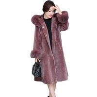 Высокое качество искусственного меха пальто с капюшоном плюс Размеры Повседневное Свободные Поддельные Меховая куртка Для женщин с длинны