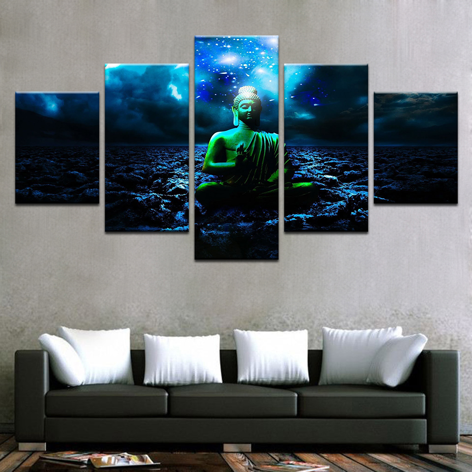 Poster Wall Modular Picture Home Decoration 5 Panel Buddha Painting Frame Art Print On Canvas For Living Room Modern Type
