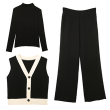 new suit Korean fashion three-piece clothing set ladies loose long-sleeved pullove sweater Vest pants autumn knitting coat S M L 2016 autumn clothing new product korean girl children s garment lace split joint knitting vest vest girl sleeveless sweater