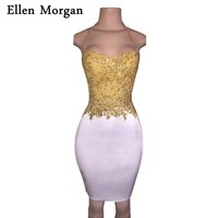 Sexy Short Cocktail Dresses 2017 Sale Sheath Gold Top With Lace Beading White Above Knee Mini