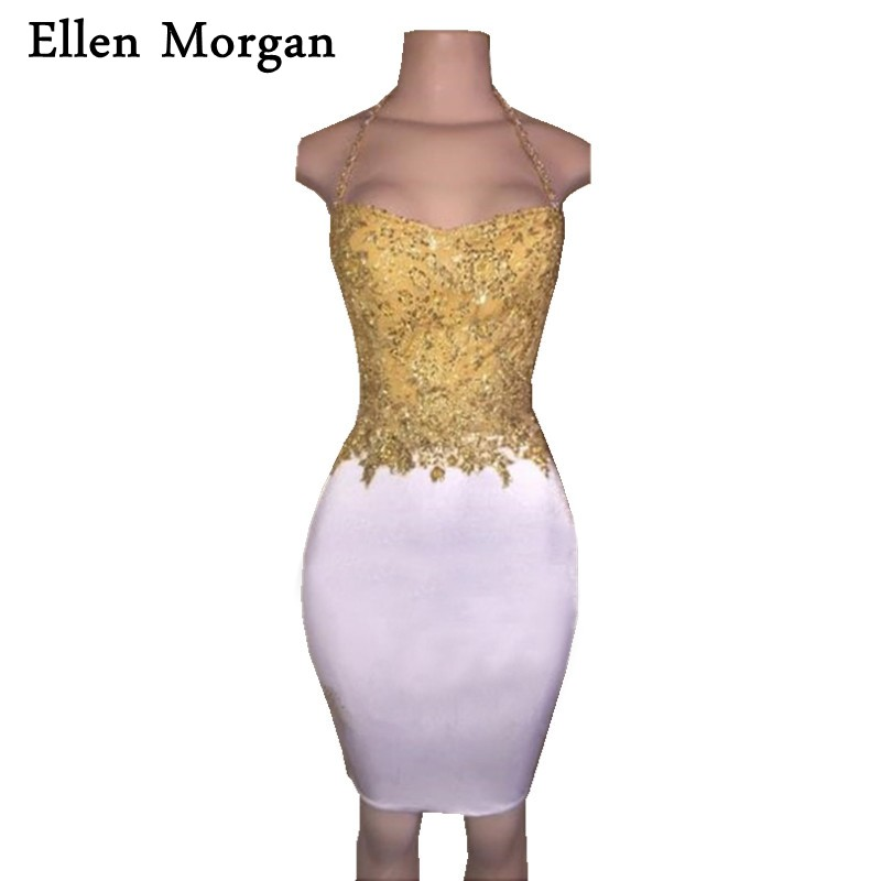 Sexy Short Cocktail Dresses 2019 Sale Sheath Gold Top With Lace Beading White Above Knee Mini Elegant Halter Party Gowns