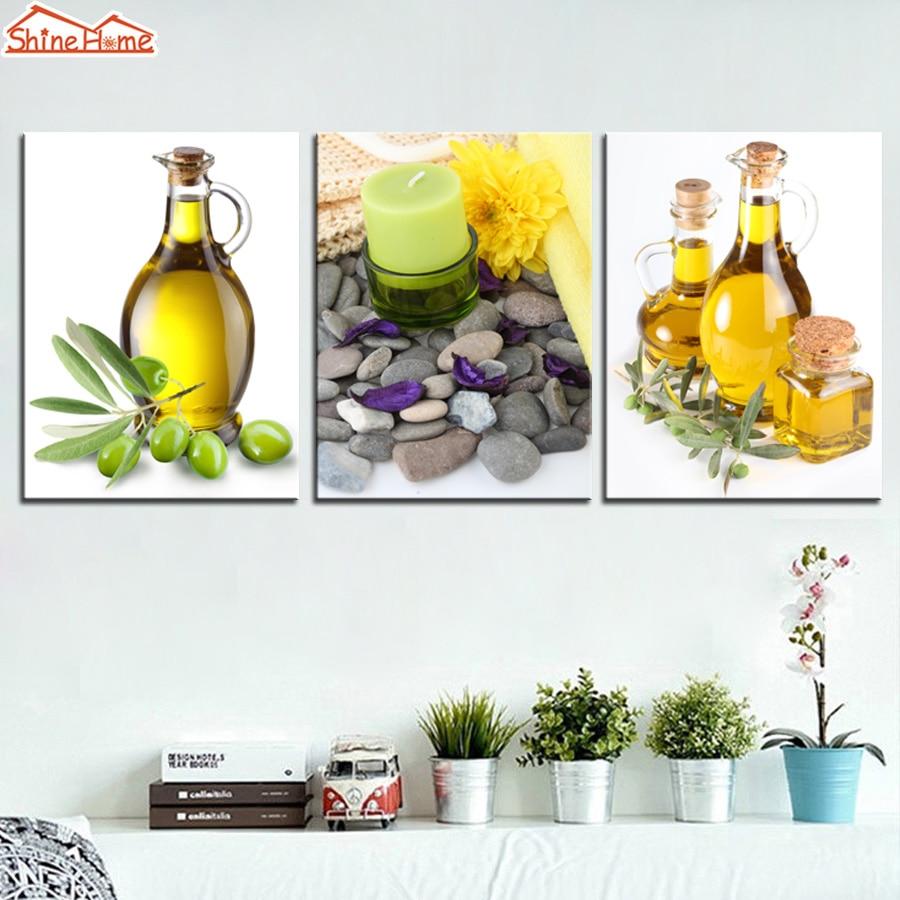 Shinehome 4pcs Wall Art Canvas Painting Printing Spa Yoga: ShineHome 3pcs Canvas Modular Wall Painting Printing Yoga