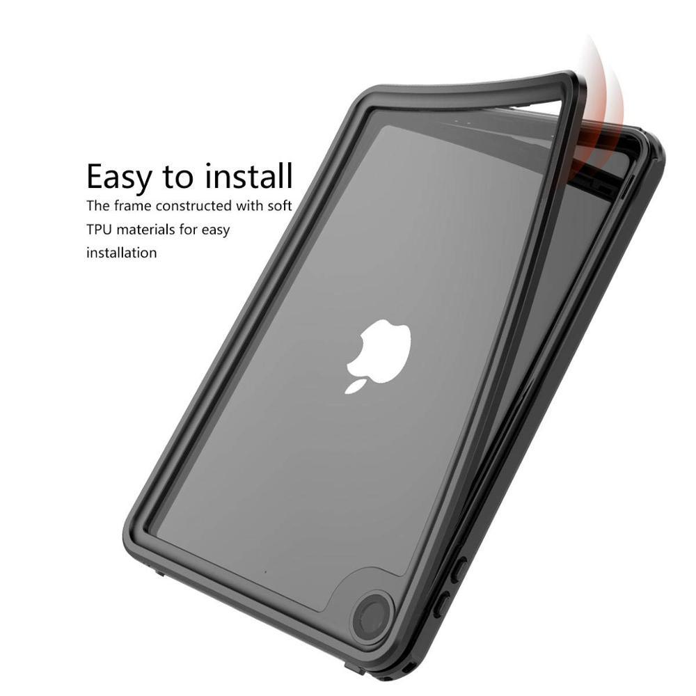 ipad mini black IP68 Waterproof Case For iPad mini 5 Built-in Screen Full-Body Protector Shockproof Dustproof Anti-scratch Cover Skin Black New (3)