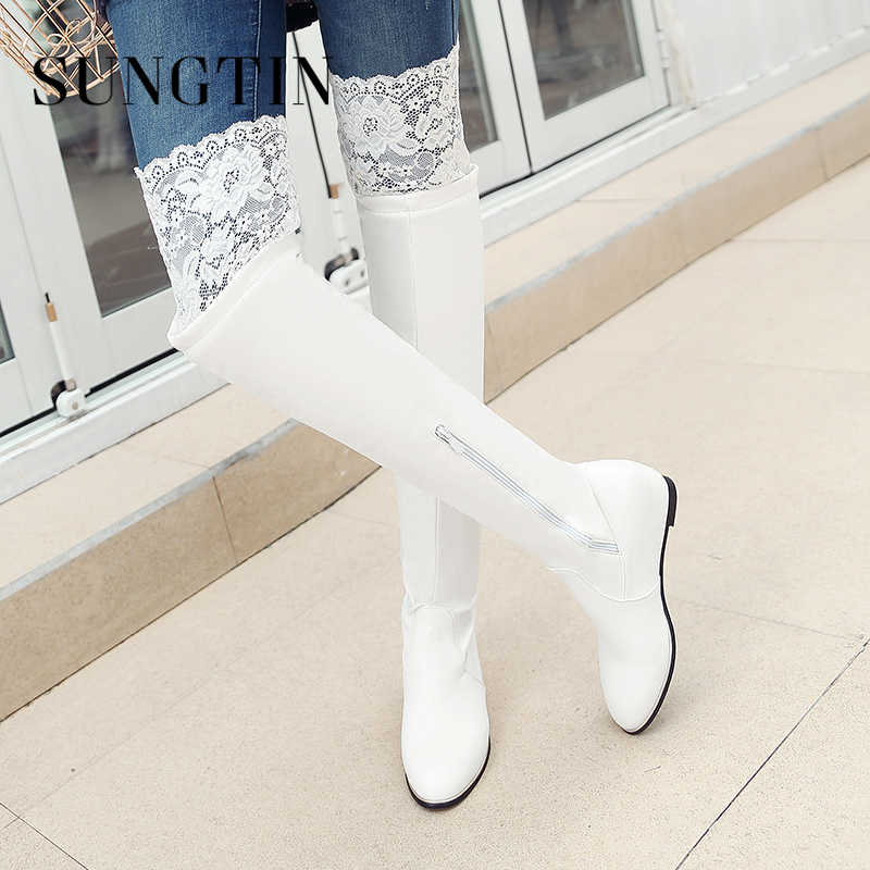 Sungtin Autumn Winter Pu Leather Women Sexy Lace Over The Knee Boots Classic Black White Plus Size Flat Thigh High Long Boots