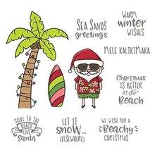 Санта Клаус серфинг на пляже DIY Прозрачная силиконовая печать Скрапбукинг тиснение Трафарет Шаблон поделки фоновая карточка сделать