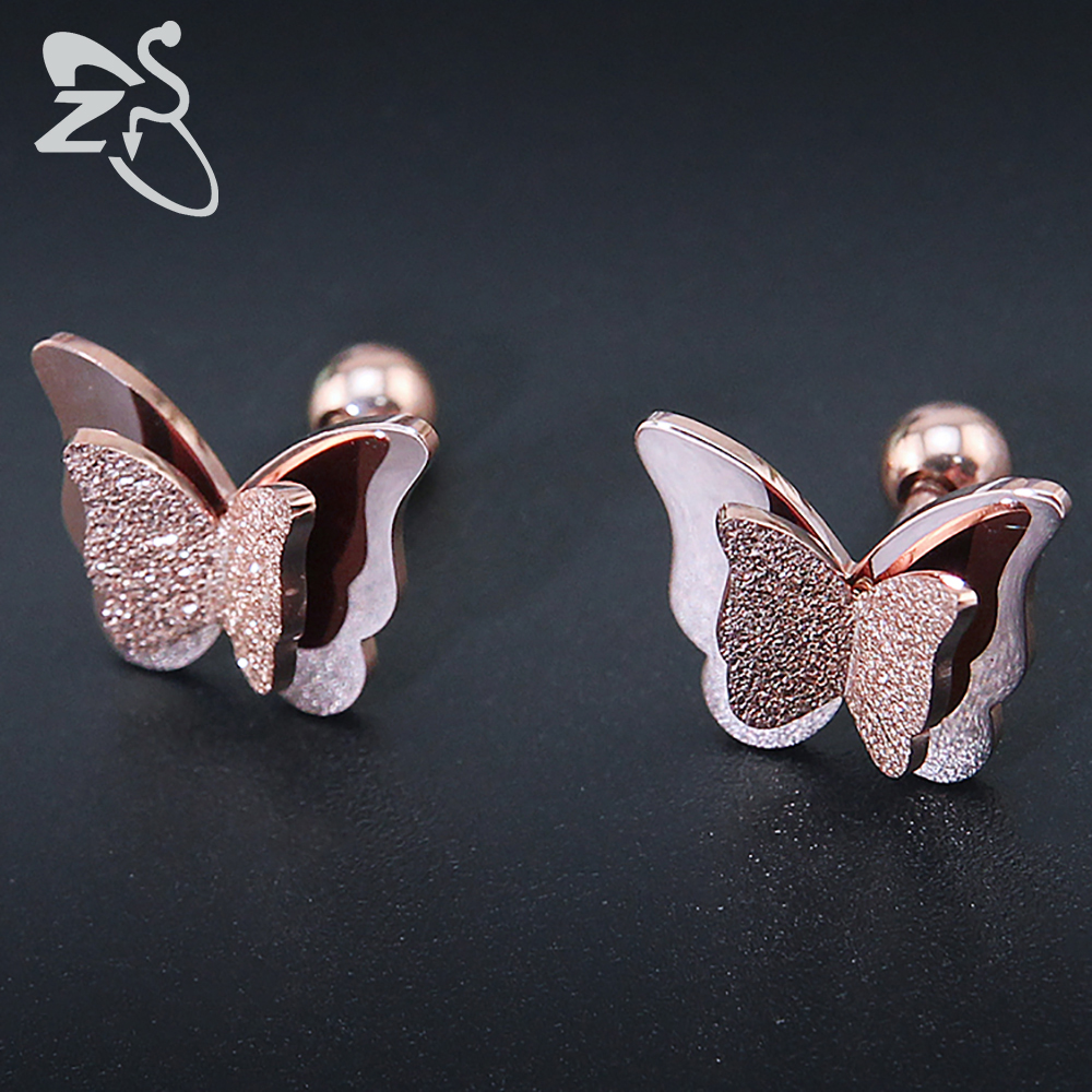 2017 New Butterfly Earrings Rose Gold Color Stainless Steel Stud Earrings for Women Child Frosted Butterfly