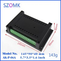 1piece din rail abs housing for electronics and pcb DIY din rail case housing instrument pcb board junction box szomk145*90*40mm