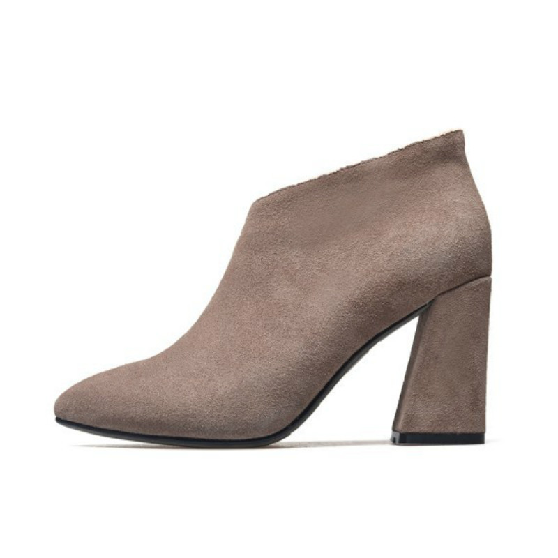 2017 Winter New Women Suede Genuine Leather Ankle Boots Pointed Toe Short Booties Zipper Block High Heels Pumps Party Shoes front lace up casual ankle boots autumn vintage brown new booties flat genuine leather suede shoes round toe fall female fashion