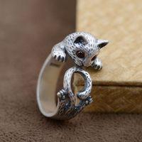 KJJEAXCMY fine jewelry S990 wholesale matte archaize craft female cute kawaii Kitty hand decoration